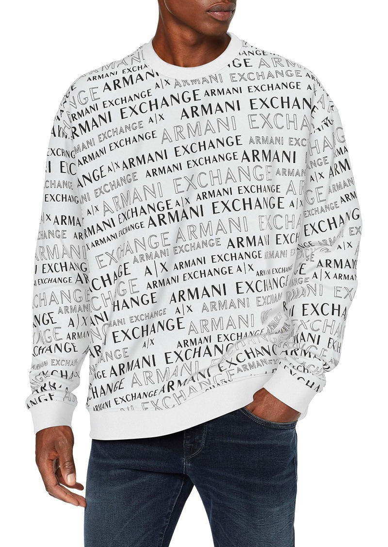 A|X Armani Exchange Men's Crew Neck Pattern Logo Pullover White Extreme XXL
