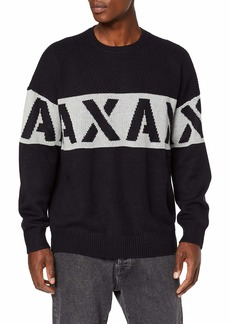 A|X Armani Exchange Men's Crew Neck Pullover with Large AX Stencil Logo naby/Alloy XXL