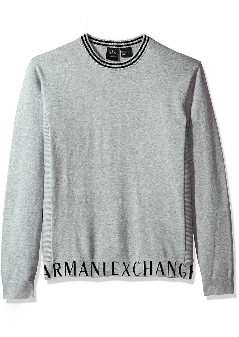 A|X Armani Exchange Men's Crew Neck Sweater with Logo Banded Bottom Alloy HTR BC06
