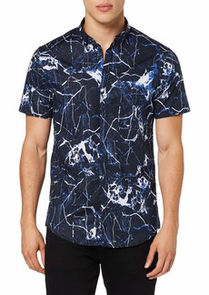 A|X Armani Exchange Men's Cuffed Short Sleeve Button Down with Collar All-Over Ocean Marble L