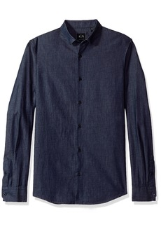 A|X Armani Exchange Men's Denim Long Sleeve Collared Button up Reg Fit
