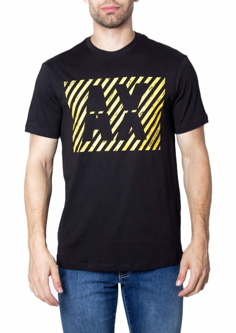 A|X Armani Exchange Men's Diagonal Stripe AX Print Logo Cotton Jersey T-Shirt  M