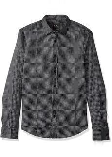 A|X Armani Exchange Men's Double Dot Print Long Sleeve Shirt