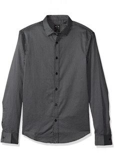 A|X Armani Exchange Men's Double Dot Print Long Sleeve Shirt BLK Base/Micro GEOME