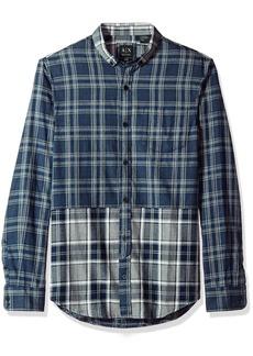 A|X Armani Exchange Men's Double Plaid Flannel Long Sleeve Shirt