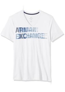 A|X Armani Exchange Men's Faded Logo V Neck Tee
