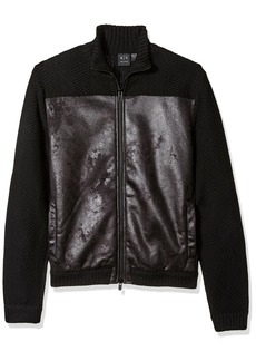 A|X Armani Exchange Men's Faux Suede Front Full Zip Wool Sweater