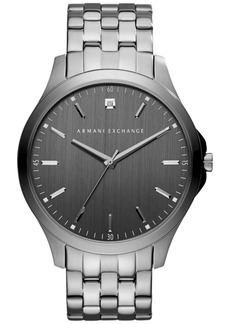 AX Armani Exchange Men's Genuine Diamond Accent Gunmetal Ion-Plated Stainless Steel Bracelet Watch 46mm AX2169
