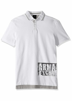 A|X Armani Exchange Men's Graphic AX Print Polo Shirt  S