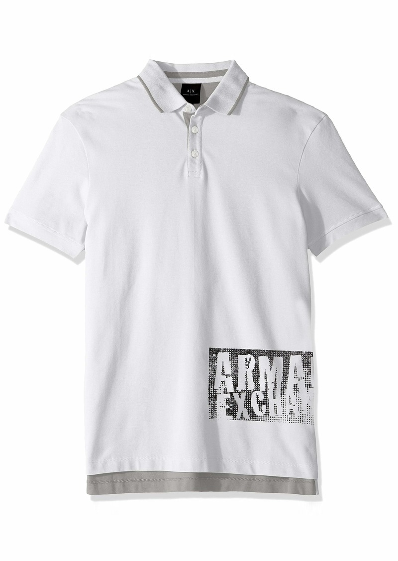 A|X Armani Exchange Men's Graphic AX Print Polo Shirt  S