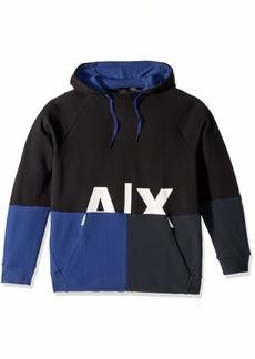 A|X Armani Exchange Men's Graphic Split Hoodie Black/Twilight b/Navy L