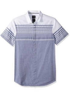 A|X Armani Exchange Men's Grey Stripe Button Down Shirt Blue Yarn L