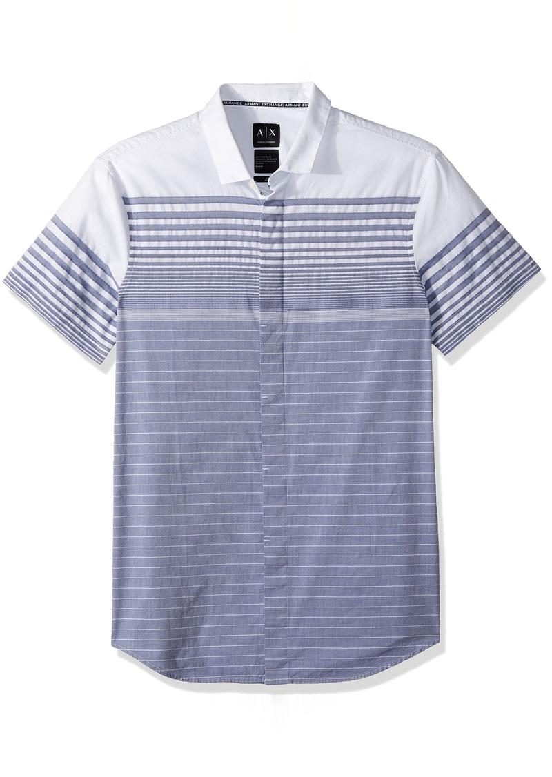A|X Armani Exchange Men's Grey Stripe Button Down Shirt Blue Yarn L