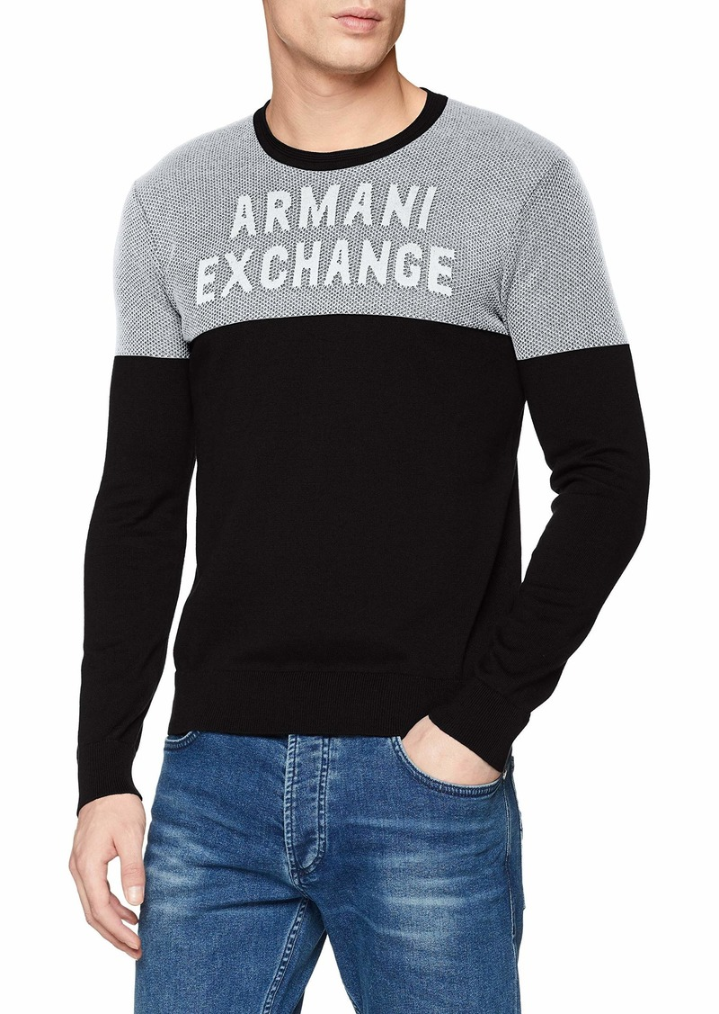 A|X Armani Exchange Men's Half Dotted Pullover Sweater  XL