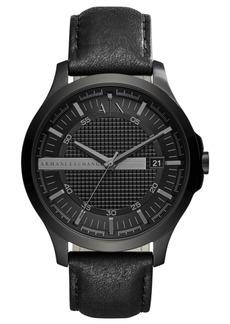 AX Armani Exchange Men's Hampton Black Leather Strap Watch 46mm