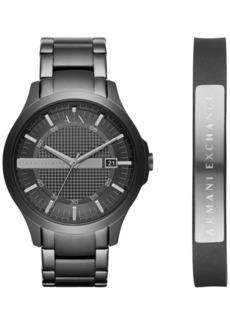 AX Armani Exchange Men's Hampton Black Stainless Steel Bracelet Watch Gift Set 46mm AX7101