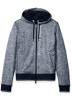 A|X Armani Exchange Men's Heathered Logo Full Zip Fleece Hoodie DK. Sea HTR B8275