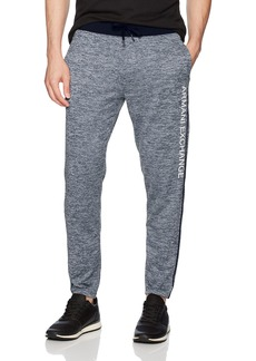 A|X Armani Exchange Men's Heathered Logo Tapered Fleece Sweatpants DK. Sea HTR B8275