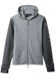 A|X Armani Exchange Men's Heathered Long Sleeve Logo'd Hoodie Grey/Medium L