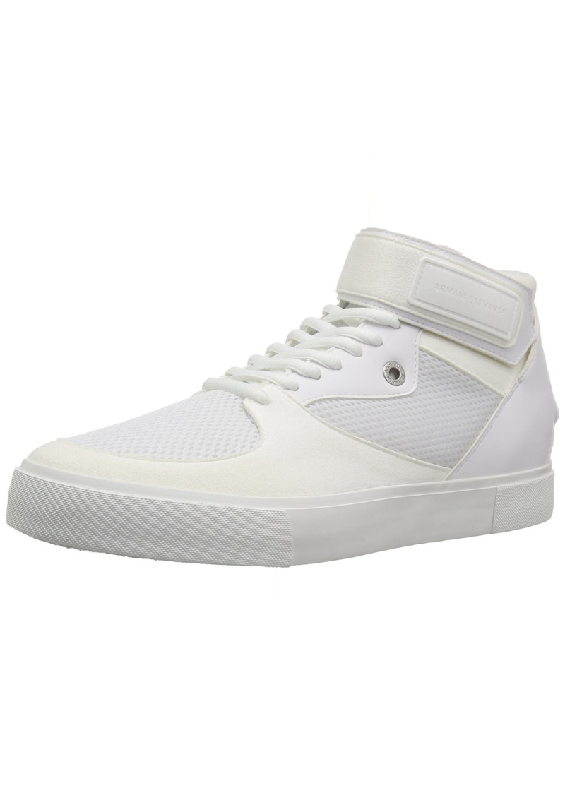 A X Armani Exchange Men's High Top Sneaker with Ankle Strap and Mesh Detail   M US