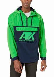 A|X Armani Exchange Men's Hooded Two Toned Windbreaker  XL