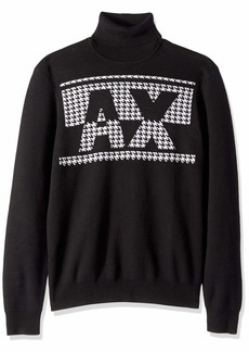 A|X Armani Exchange Men's Houndstooth AX Log Turtleneck  XS