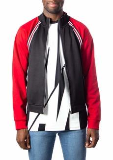 A|X Armani Exchange Men's Interlock Double Face Zip Up Sweatshirt Black with Scarlet sage M