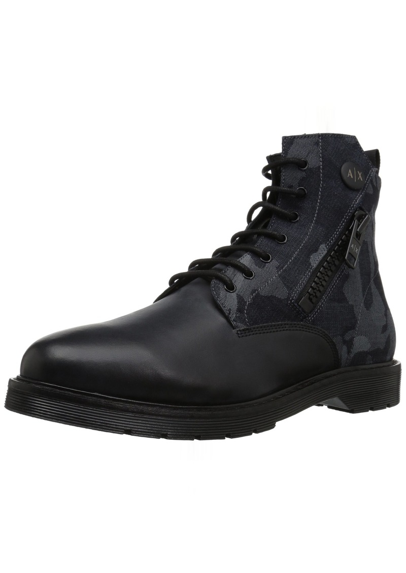 A|X Armani Exchange Men's Lace Up Military Boot with Side Zip Tactical Camouflage blu  M US