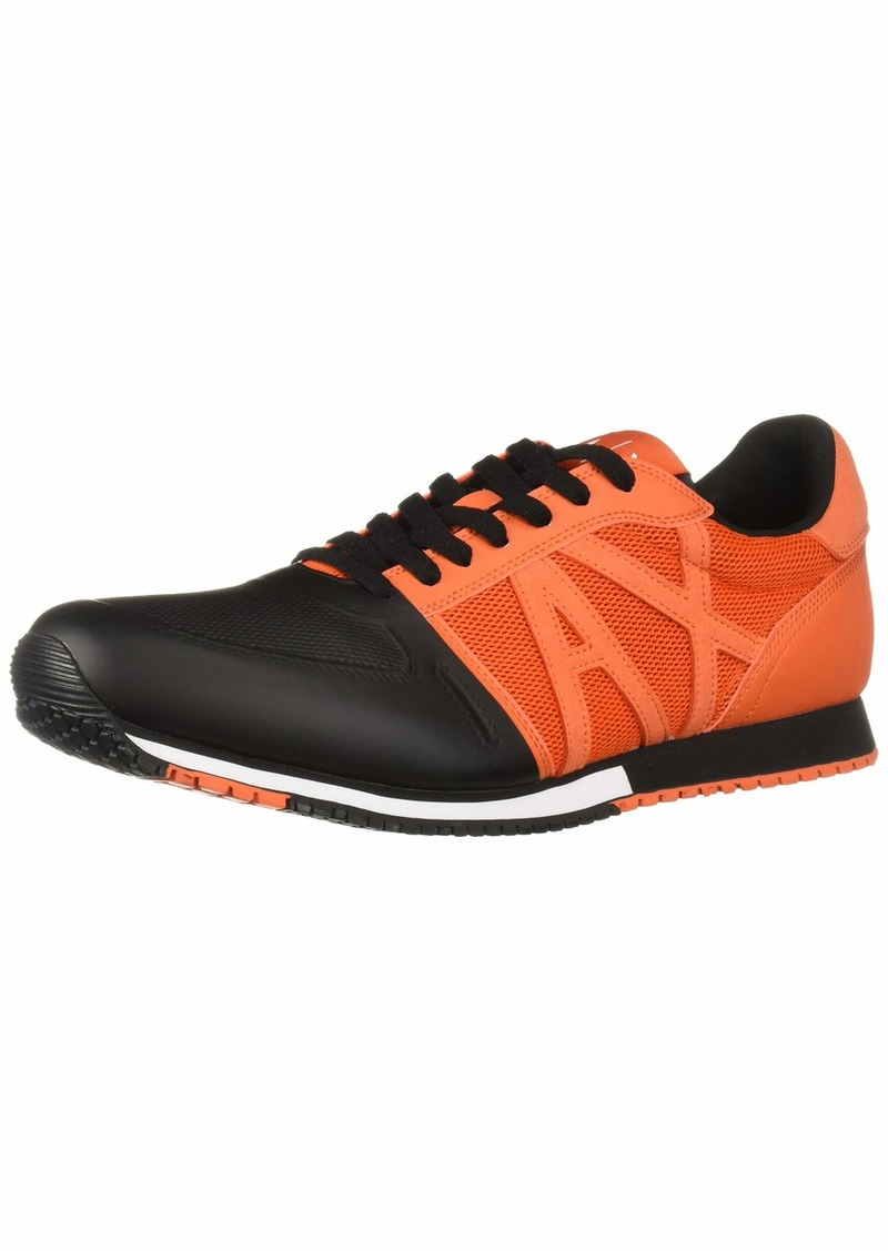 A|X Armani Exchange Men's Lace Up Sneaker with Logo Flame red + Black  US