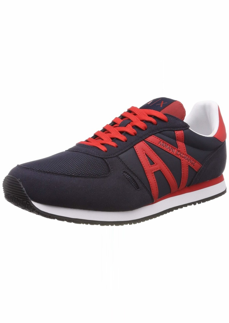 A|X Armani Exchange Men's Lace Up Sneaker with Logo navy + red 13 M US