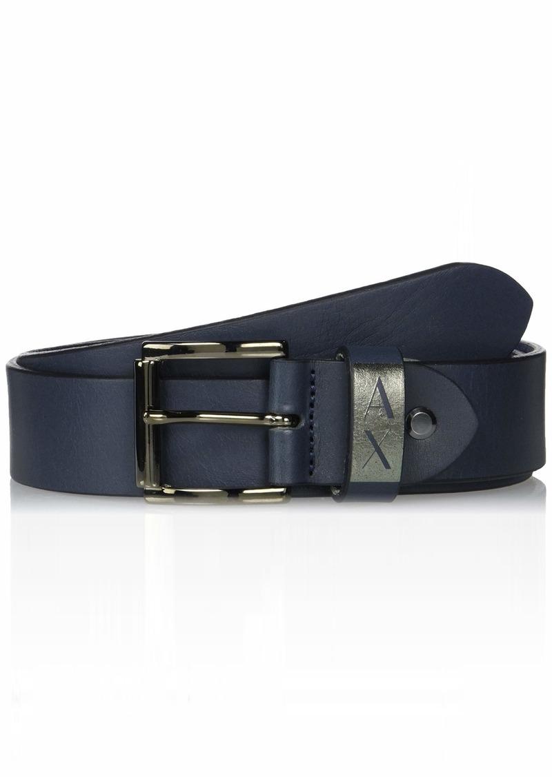 A|X Armani Exchange Men's Leather Belt with Matte Buckle blue