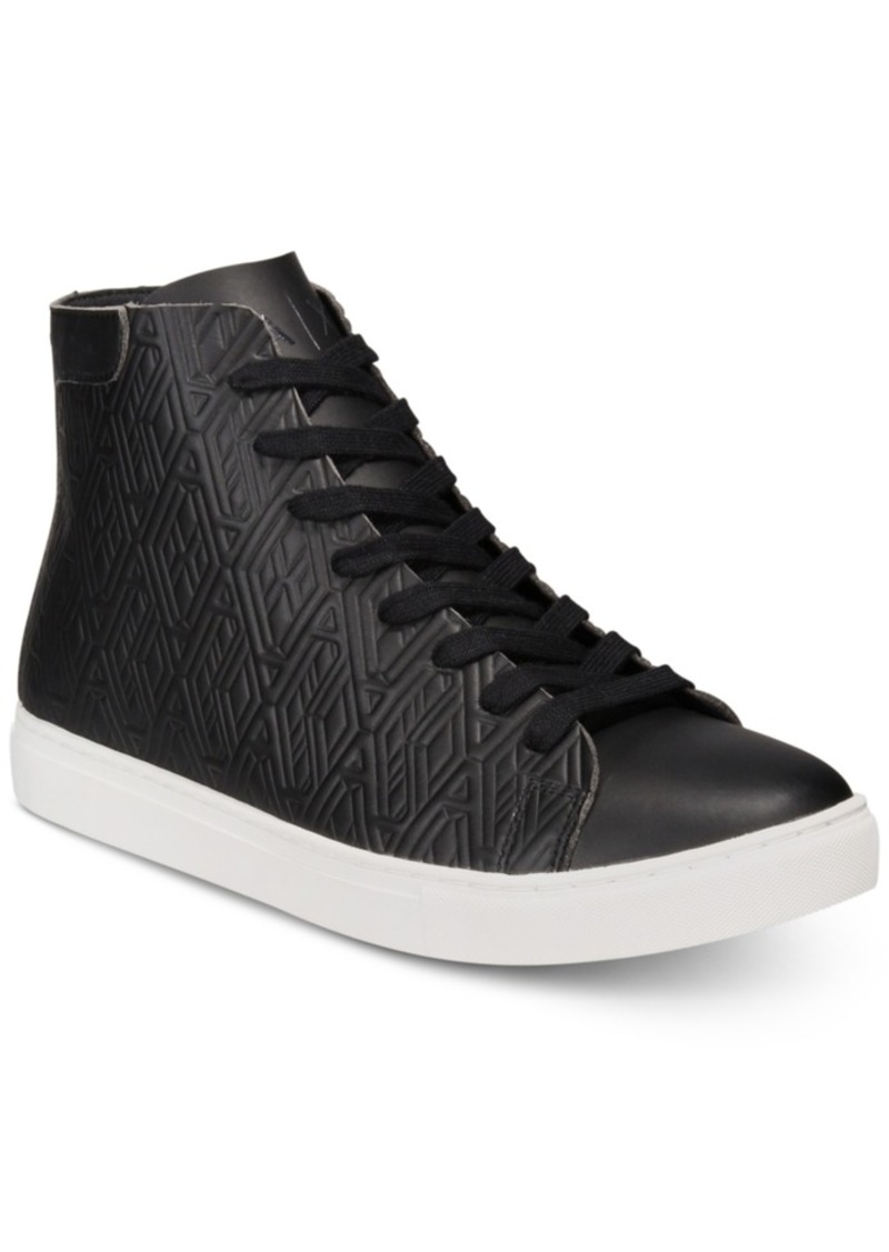 10eb09baf4dc AX Armani Exchange Men s Leather-Effect Printed High-Top Sneakers Men s  Shoes