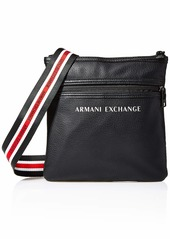 A|X Armani Exchange Men's Leather Small Flat Crossbody Bag with Striped Straps black
