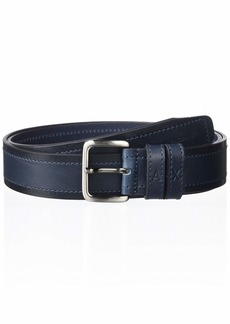A|X Armani Exchange Men's Leather Stitch Belt navy