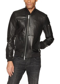 A|X Armani Exchange Men's Leather with Stitching and Sleeve Pocket  M