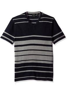 A|X Armani Exchange Men's Linen Blend Short Sleeve Stripe Knit