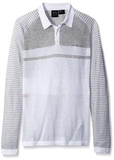 A|X Armani Exchange Men's Linen Cotton Stripe Long Sleeve Polo