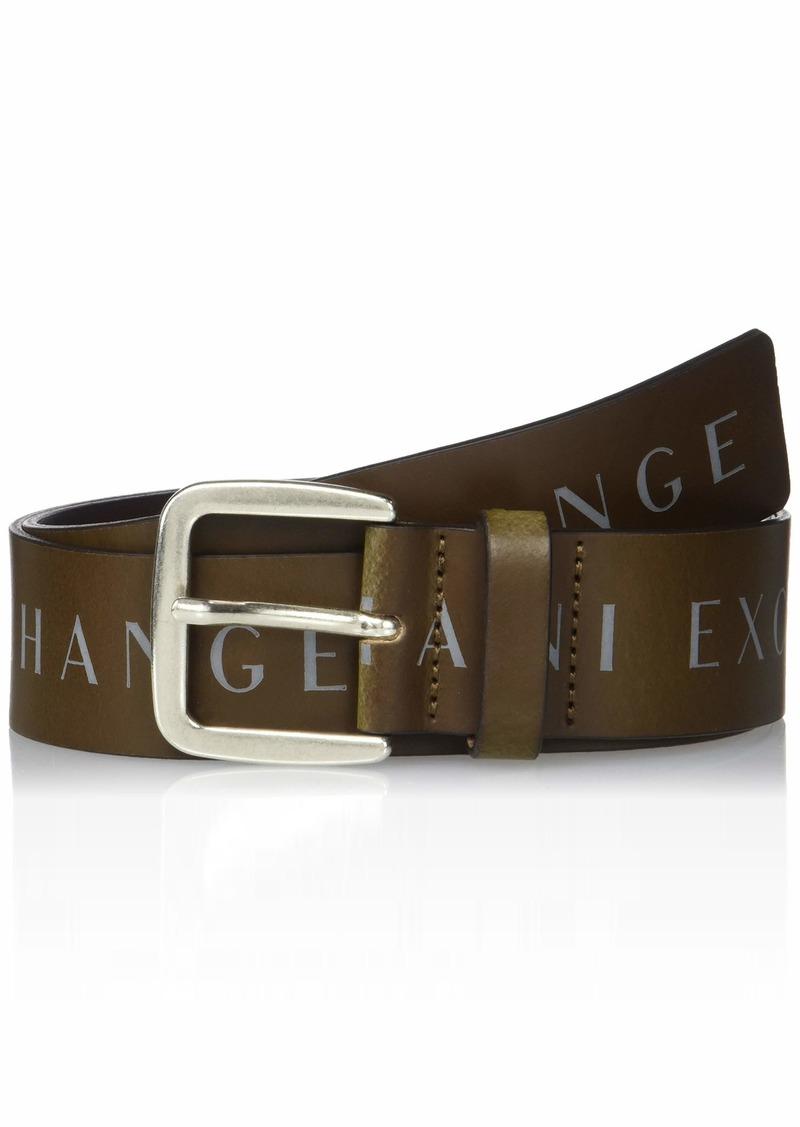A|X Armani Exchange Men's Logo Print Belt dark brown