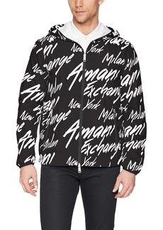 A X Armani Exchange Men's Logo Printed Activewear Jacket Black W/Italic M