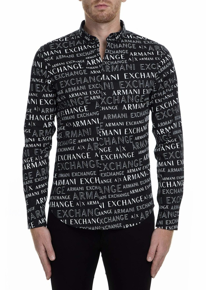 A|X Armani Exchange Men's Long Sleeve Button Down Shirt with Collar  M