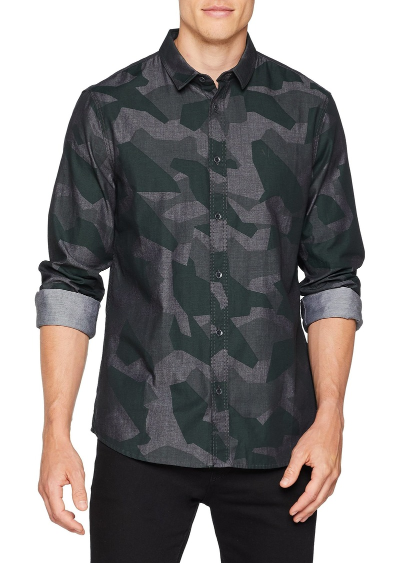 A|X Armani Exchange Men's Long-Sleeve Camouflage Print Button-Down Shirt camo BS Green L