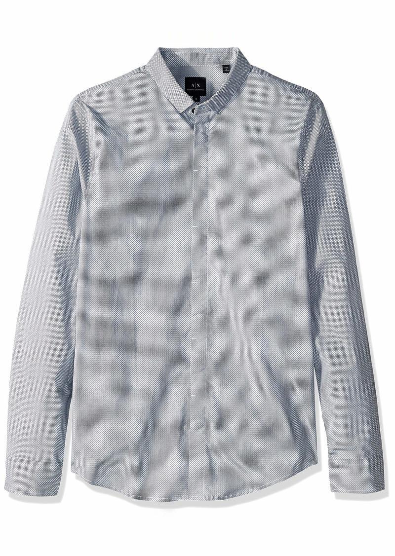A|X Armani Exchange Men's Long-Sleeve Cotton Button Down Diamonds BS White W/XL
