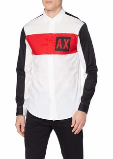 A|X Armani Exchange Men's Long-Sleeve Cotton Button Down White/H.Risk RED/BLA M