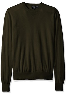 A|X Armani Exchange Men's Long Sleeve Crew Neck Pullover Knit Slim Fit DK Moss