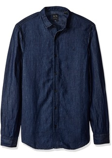 A|X Armani Exchange Men's Long Sleeve Denim Button Indigo M