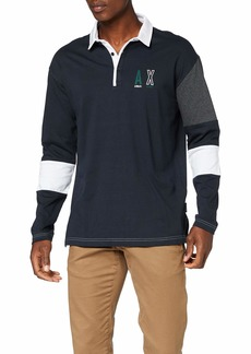 A|X Armani Exchange Men's Long Sleeve Polo Shirt with Colorblocked Collar  XL