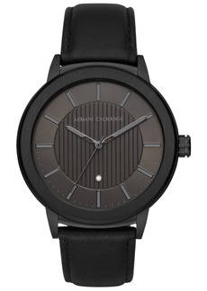 AX Armani Exchange Men's Maddox Genuine Diamond-Accent Black Leather Strap Watch 46mm