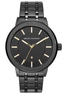 AX Armani Exchange Men's Maddox Genuine Diamond-Accent Black Stainless Steel Bracelet Watch 46mm