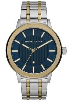 AX Armani Exchange Men's Maddox Genuine Diamond-Accent Two-Tone Stainless Steel Bracelet Watch 46mm