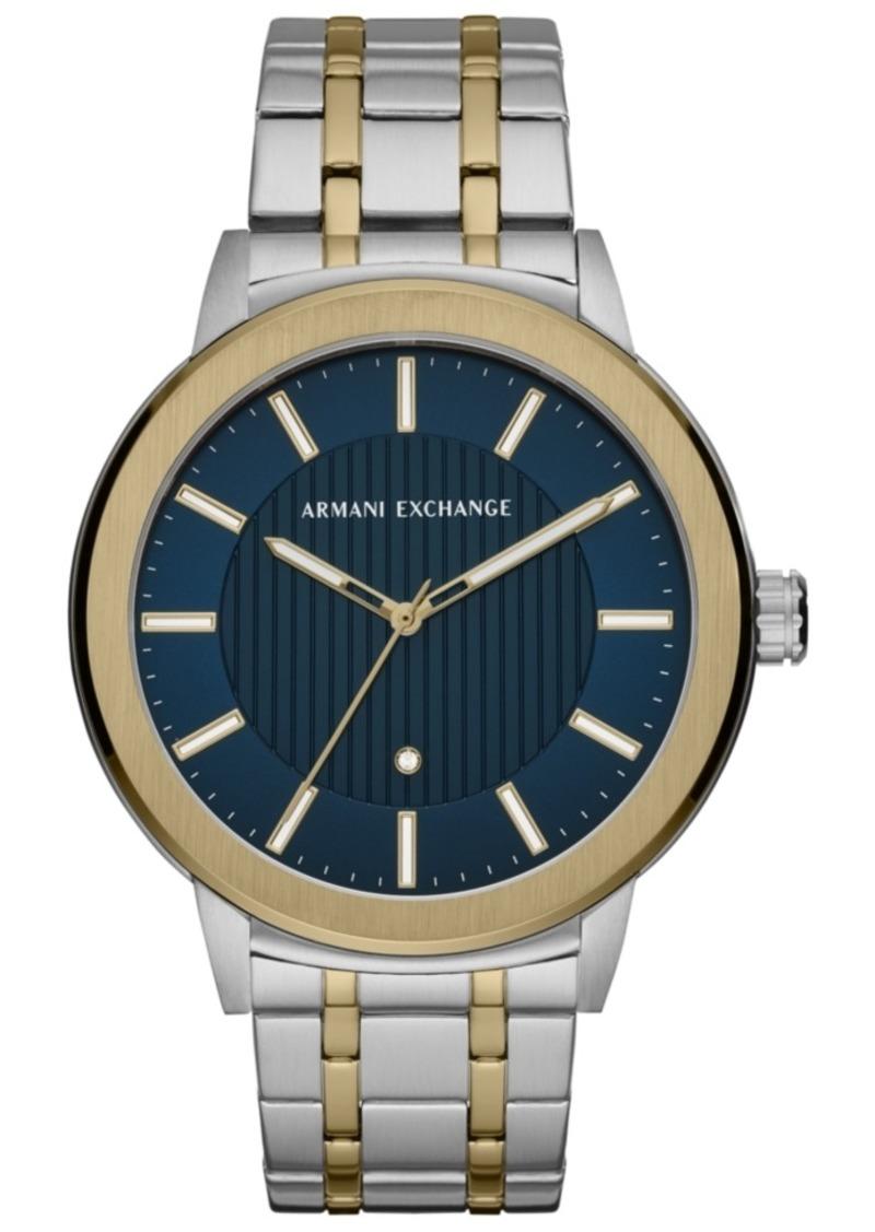 b1bac1cf35b AX Armani Exchange Men s Maddox Genuine Diamond-Accent Two-Tone Stainless  Steel Bracelet Watch